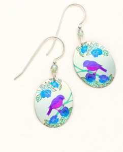 colorful oval drop earring with bird
