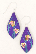 Load image into Gallery viewer, purple earrings with flowers