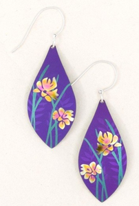 purple earrings with flowers