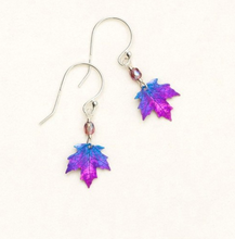 Load image into Gallery viewer, purple maple leaf dangle earring