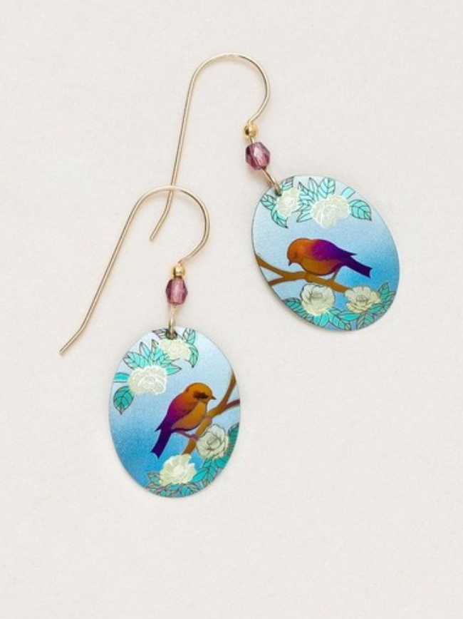oval earring with bird