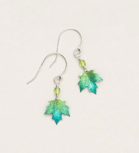 Load image into Gallery viewer, green maple leaf drop earring