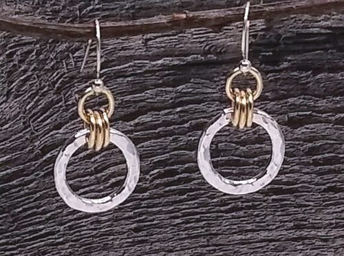 hammered silver and gold circular drop earrings