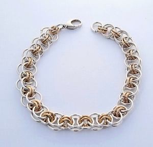 interlocking link silver and gold chain bracelet