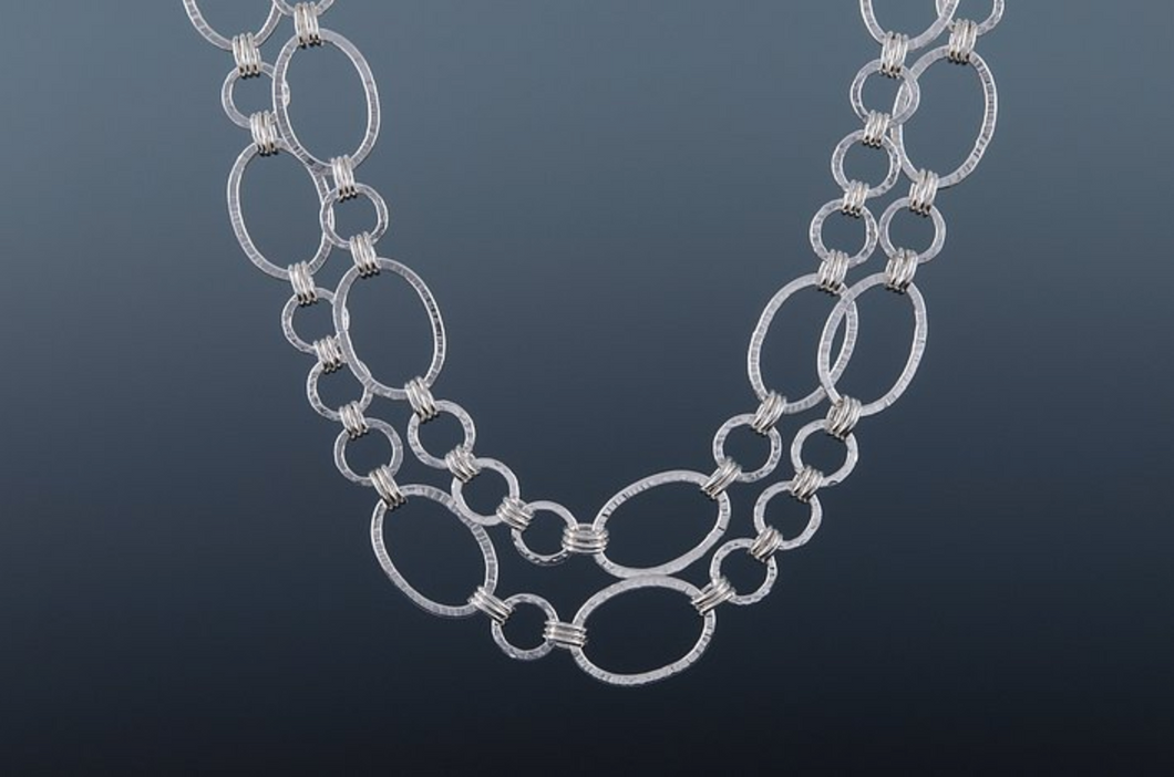 silver oval and circle link necklace