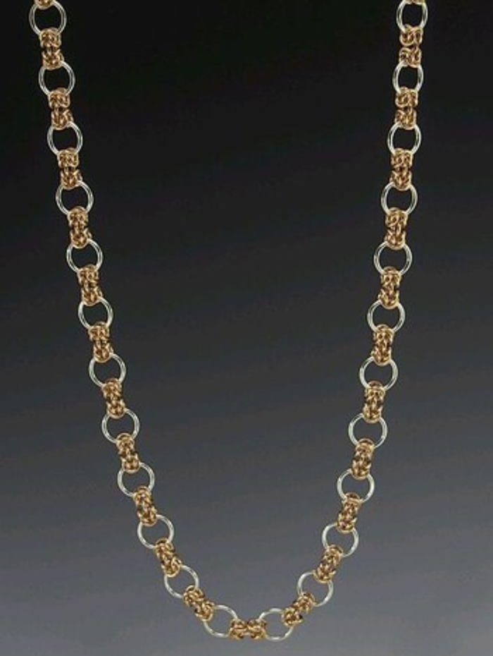 Silver and gold interlocking circle chain necklace