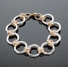 Load image into Gallery viewer, hammered silver circle and gold link bracelet