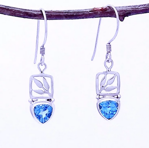 Silver earring with Blue Topaz in a leaf setting. 1.5
