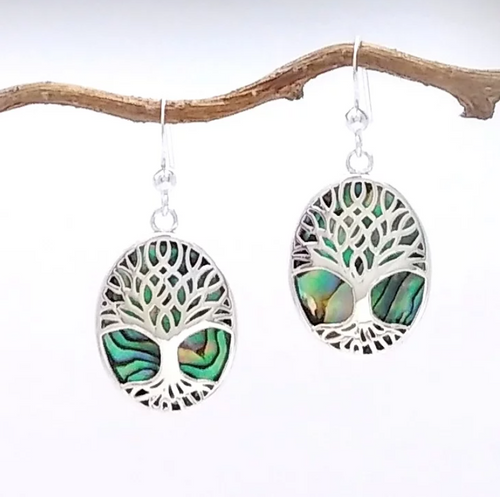 silver tree of life over abalone paua earring