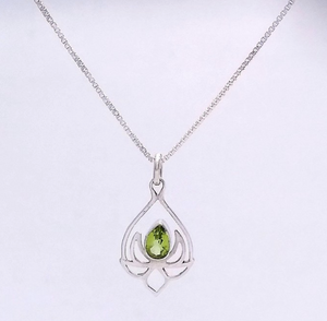 Silver Lotus Pendant with Peridot