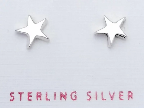 Silver 5-point star Studs on a card that says