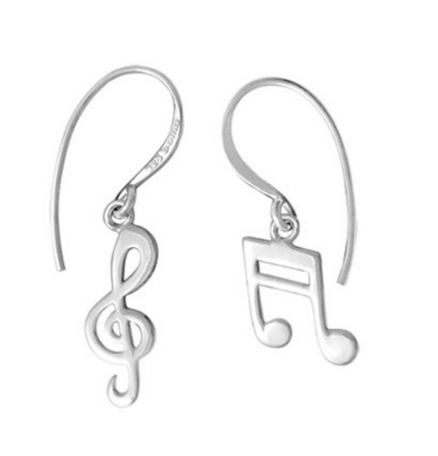sterling silver drop earrings of one treble clef and one and two musical notes connected by two lines at the top.