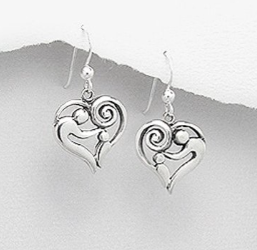 Heart shaped silver earrings depicting an adult petting the head of a child