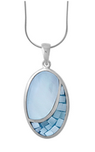 Load image into Gallery viewer, boma Inlaid Mother of Pearl Oval Pendant