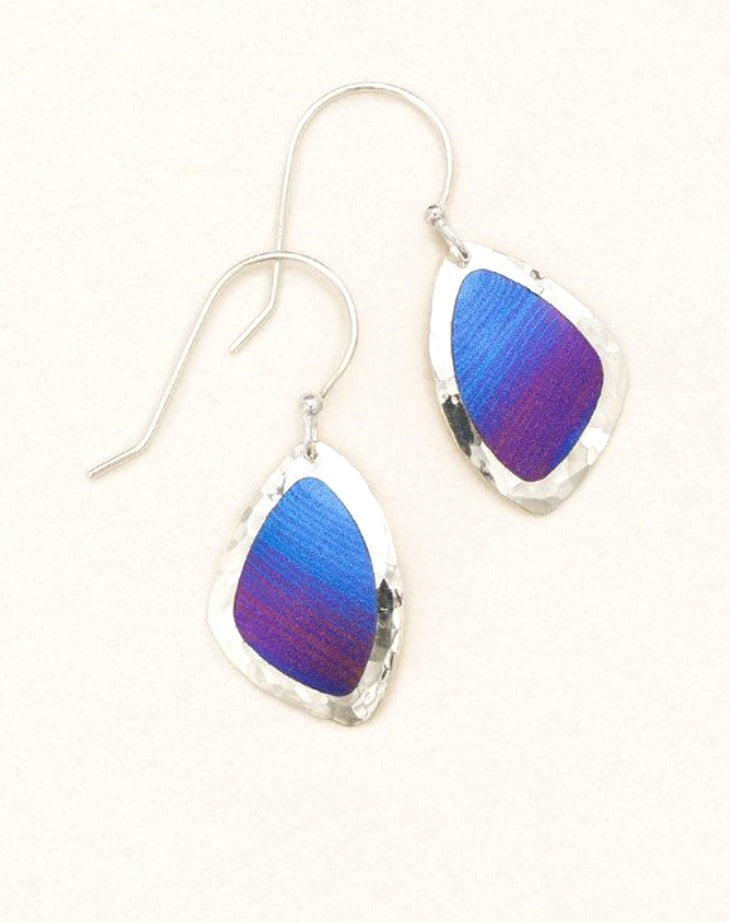 Sterling silver with blue and purple irregular drop earrings