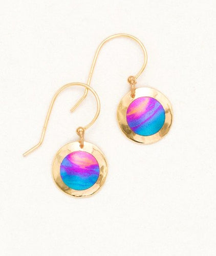 Gold round circle drop earring with pink and blue