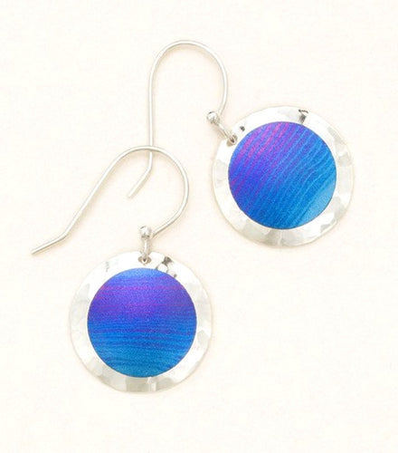 sterling silver and blue round circle drop earring