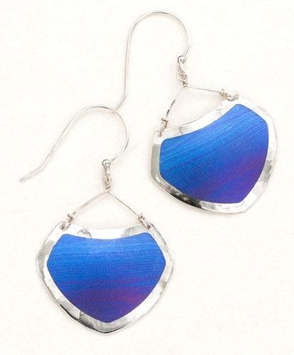 Sterling silver and blue niobium dangle earrings
