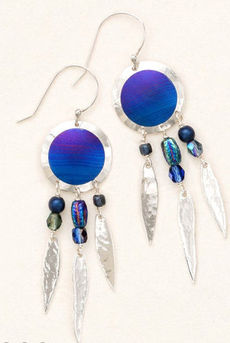 Sterling Silver Blue Dreamcatcher dangle earring with beads