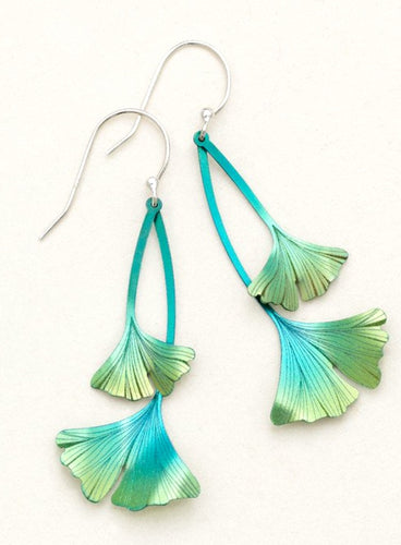 Green Niobium Ginkgo Leaf Long Drop Earring