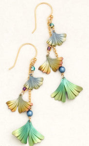 Green and orange niobium ginkgo leaf dangle earrings