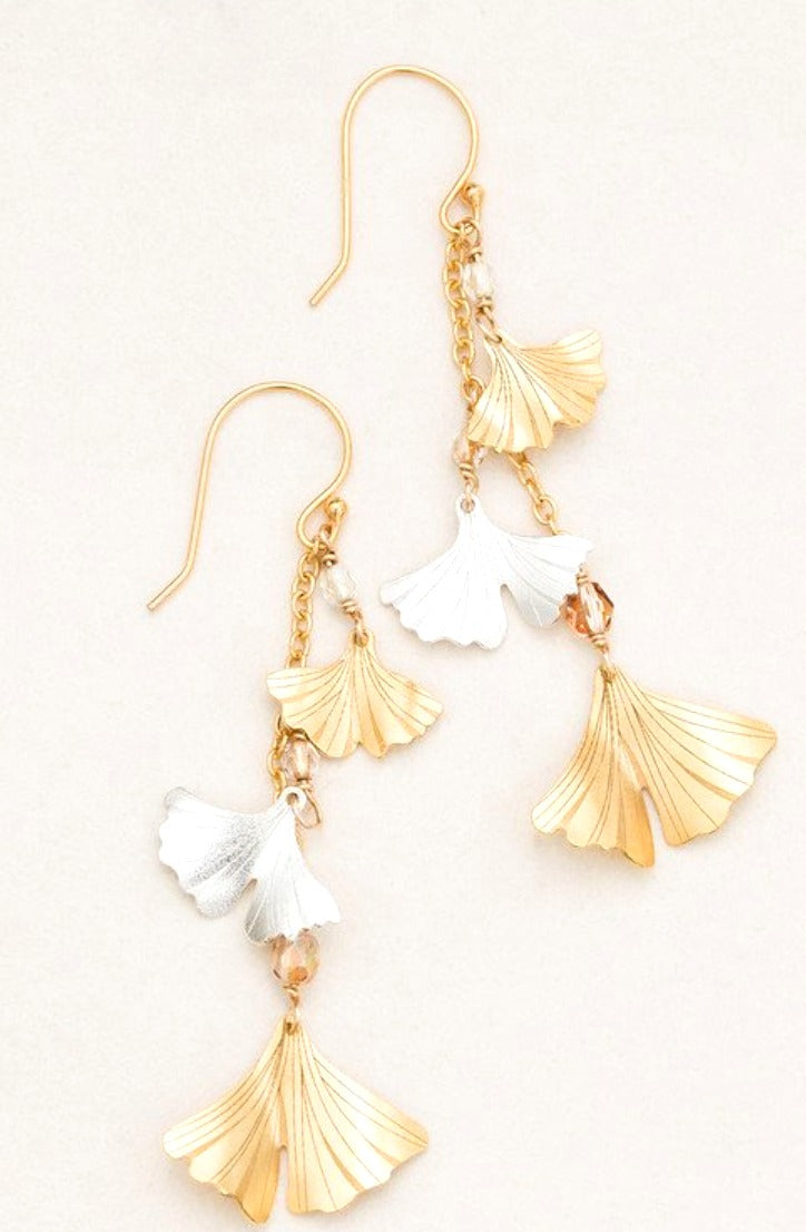 Sterling silver and gold ginkgo leaf dangle earrings