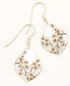 teardrop silver earring with white cherry blossoms