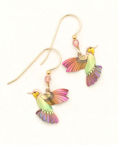 green and pink niobium hummingbird gold earrings