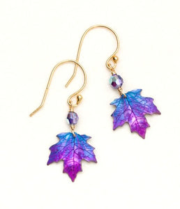 gold and purple niobium maple leaf earring