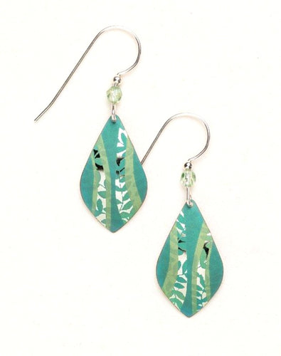 Green niobium dangle earring with leaves