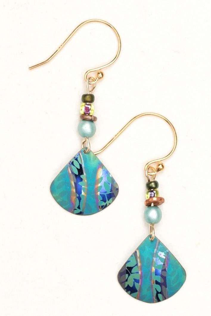 Green Niobium Dangle Earrings with Leaves and Beads