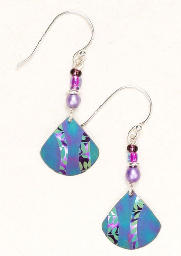 Niobium Blue Drop Earring with Leaves and Beads