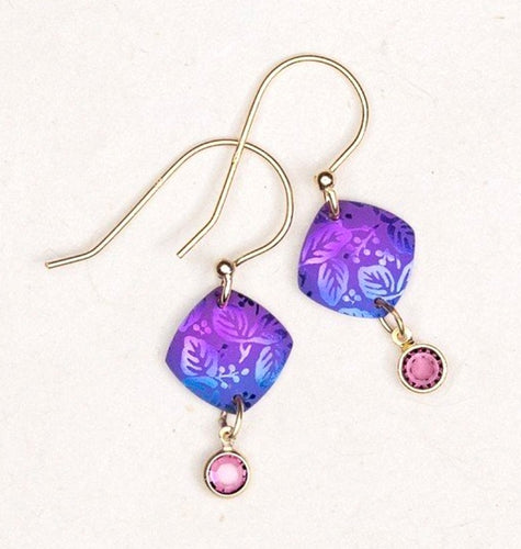 Purple Niobium Square Earring with Floral Etching