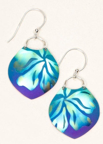 Blue Niobium Dangle Earring with Gardenia Flower