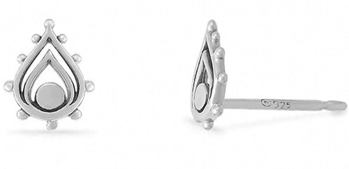 Sterling teardrop shape stud earring accented with cutouts and 10 spheres surrounding the outside.