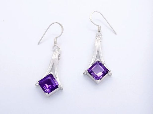 sterling silver dangle earrings with diamond shape amethyst