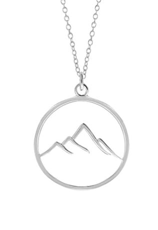 circular silver pendant with wire outline of a mountain with 4 peaks of varying heights
