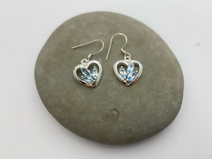 Sterling Silver Heart Earrings with 3 Stones