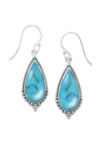 Sterling Silver teardrop shaped Dangle Earring with Turquoise Stone and small spheres lining the bottom