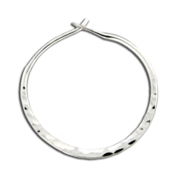 sterling silver hammered hoop earring with peg-in-hole style closure