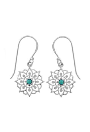 floral mandala silver dangle earring with small turquoise stone in center
