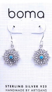 sterling silver mandala earring with circular turquoise stone in center on Boma brand earring card.