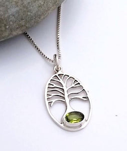 sterling silver tree of life pendant with peridot