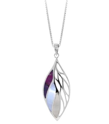 leaf shaped silver pendant with cutouts on the right and three sections of purple turquoise, light purple mother of pearl, and mother of pearl shell inlaid on the left half.