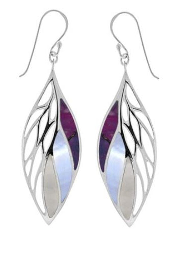 sterling silver drop earrings in a leaf shape with cutouts on outer half and three sections of purple turquoise, purple dyed mother of pearl, and mother of pearl on the inner side. Earring is on a french wire.