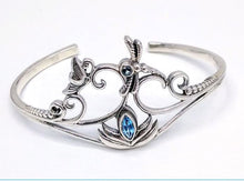 Load image into Gallery viewer, sterling silver bracelet with blue topaz