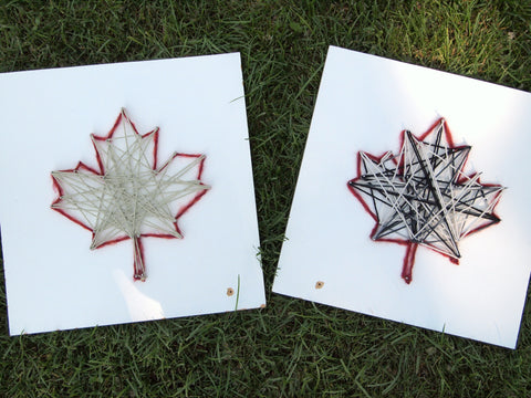Fun and simple Canada Day string art craft for kids