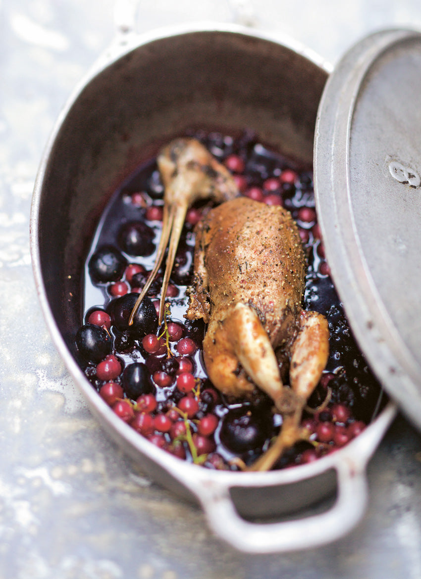 Roast Woodcock with Mixed-Berry Sauce