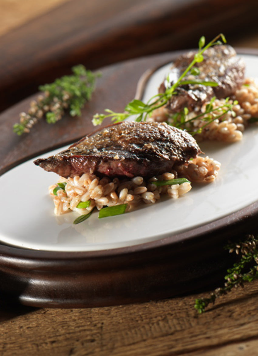 Grouse with Herby Spelt risotto