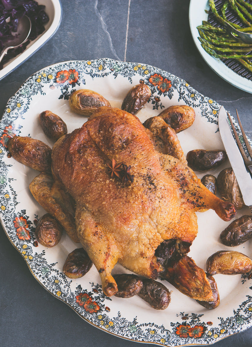 Roast duck with Spiced Red Cabbage & Cider gravy